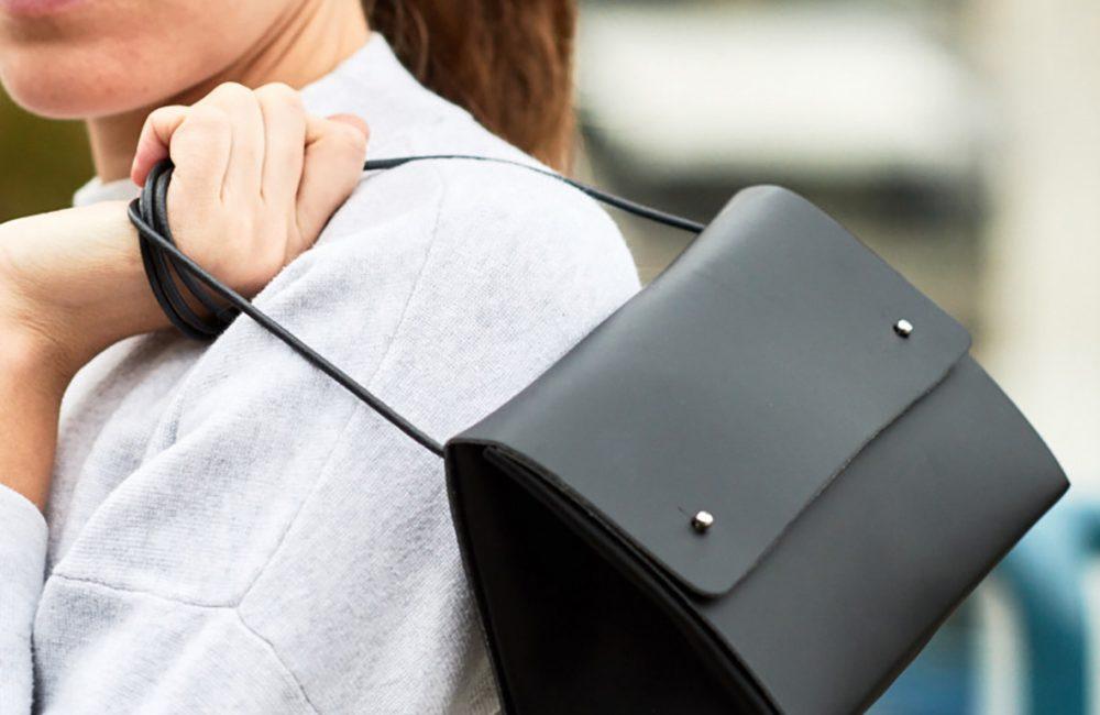 Black recycled leather handbag