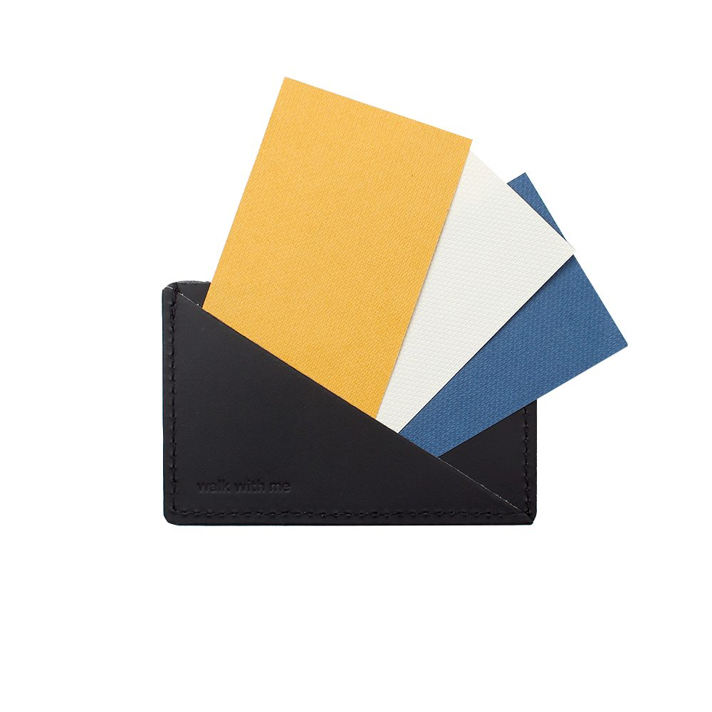 Gifts for him - recycled leather card holder black