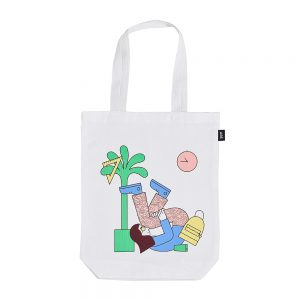 Colourful bags - white tote with illustration of woman
