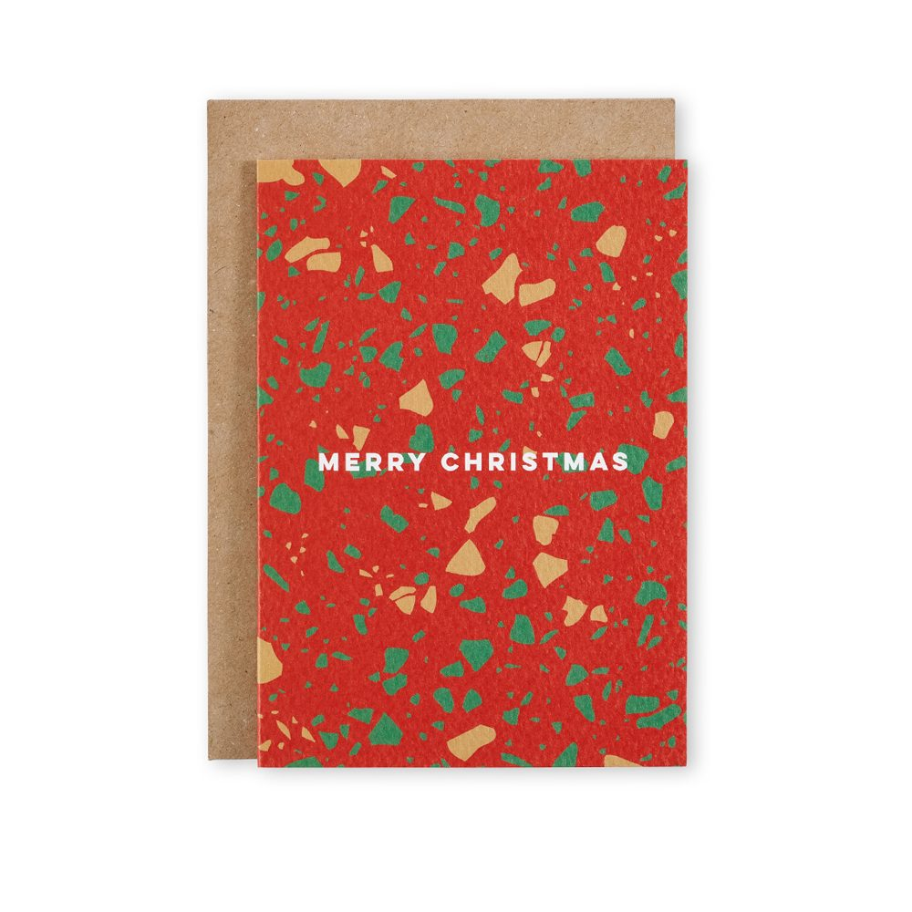 Cool Christmas Cards - Merry Christmas Terrazzo