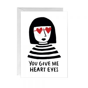 Illustrated card of woman with heart eyes