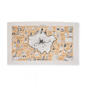 London cat map illustrated tea towel
