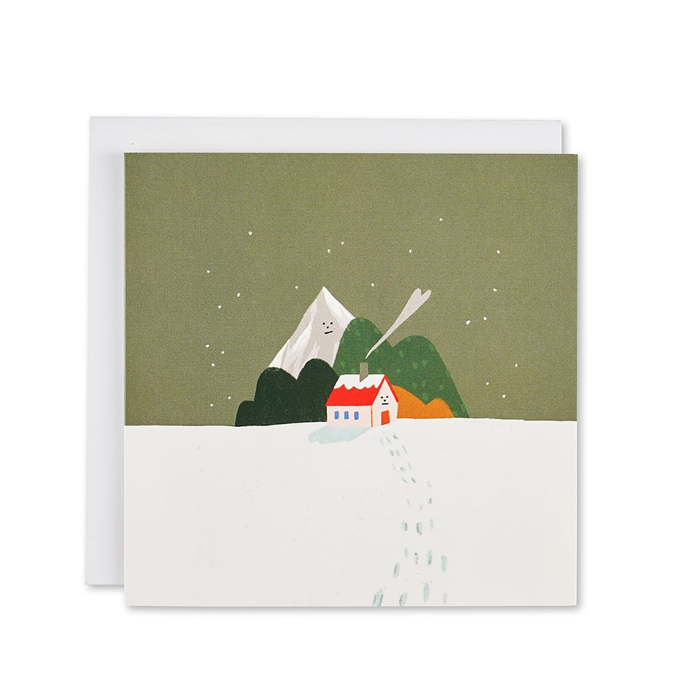 Snowy scene with house and mountains