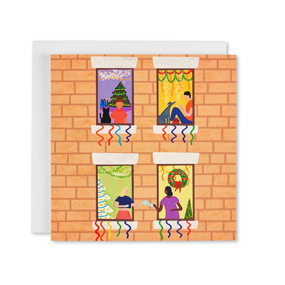 Card with people celebrating in their windows