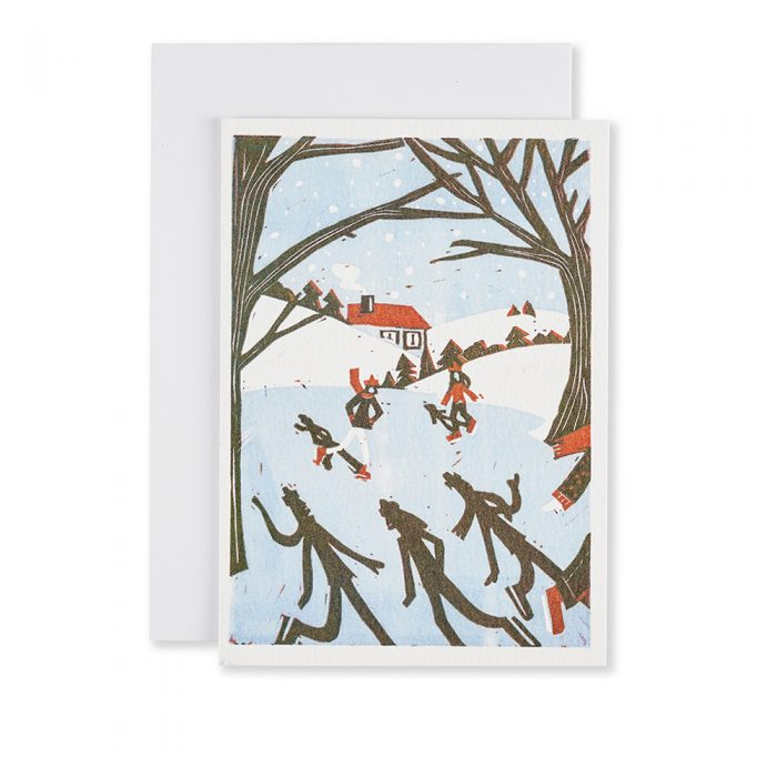 Card with people ice skating