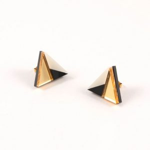 Acrylic black, white and gold earrings