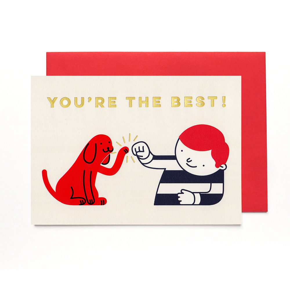 Cute greetings card with dog high five illustration