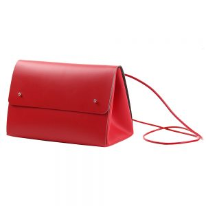 Recycled leather handbag in red