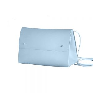 Recycled leather handbag in light blue