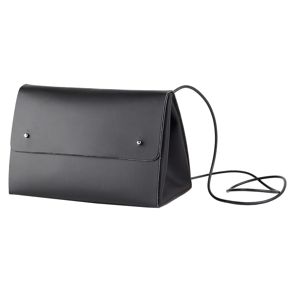 Recycled leather handbag in black
