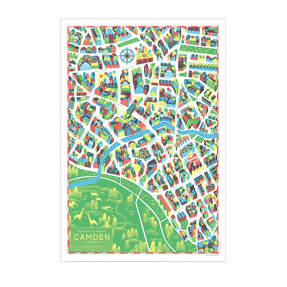 Home wall art - illustrated map of Camden