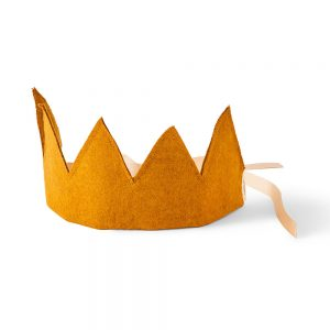 Felt crown standing upright.