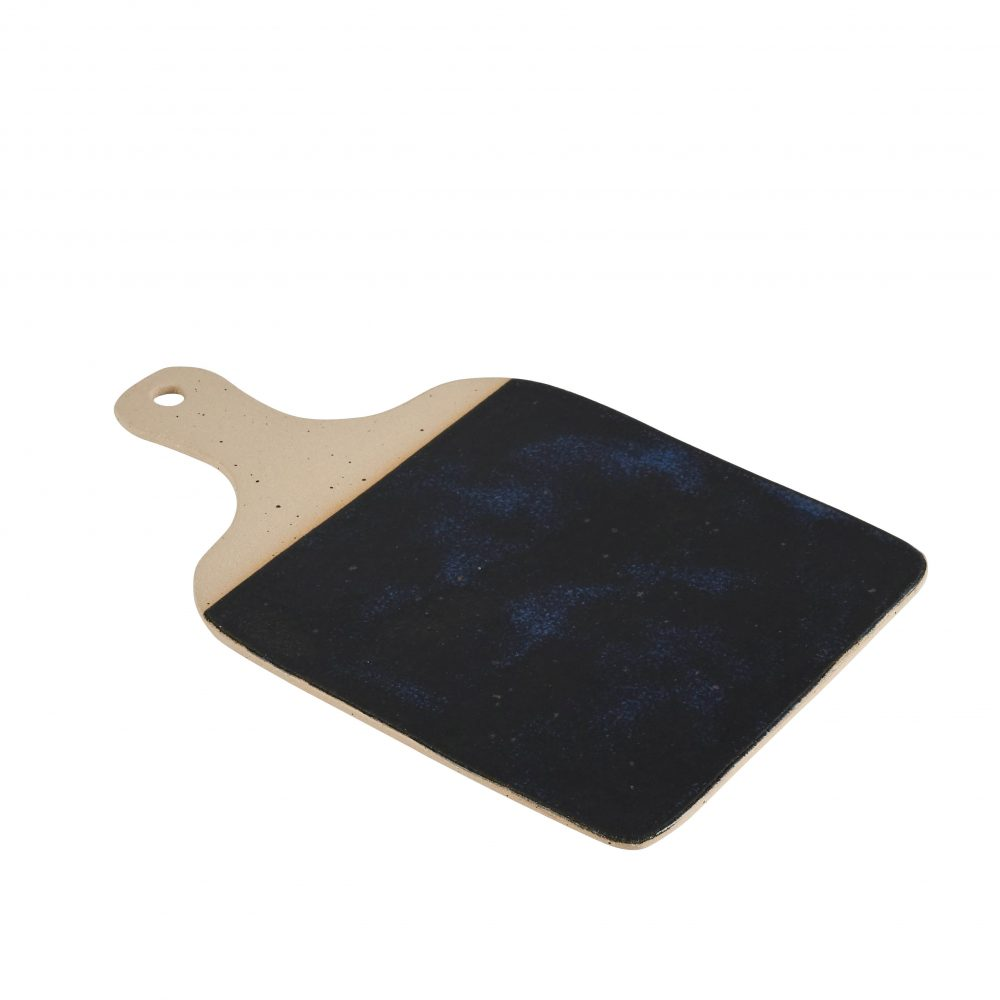 Stoneware cheeseboard with blue-black glaze