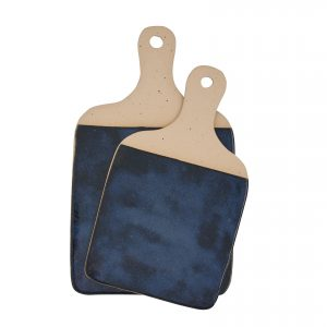 Set of two ceramic cheese boards with dark blue glaze