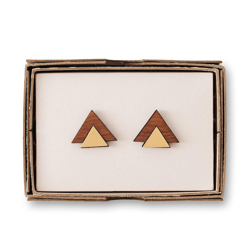 Brass cufflinks on a wooden box