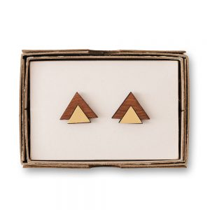 Brass cufflinks on a wooden box