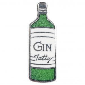 Enamel gin bottle brooch