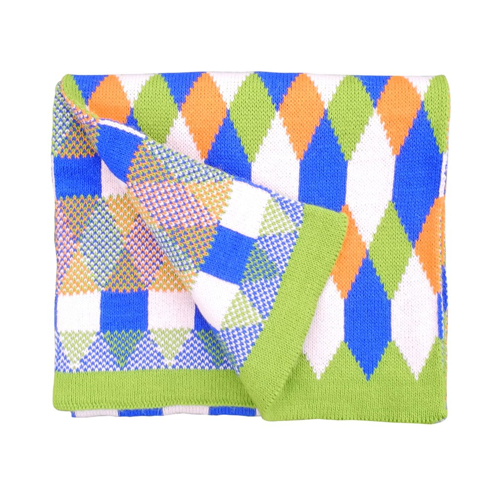 Cute scarves - geometric oversized scarf with green edge