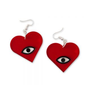 Acrylic heart-shaped earrings with eyes on them.
