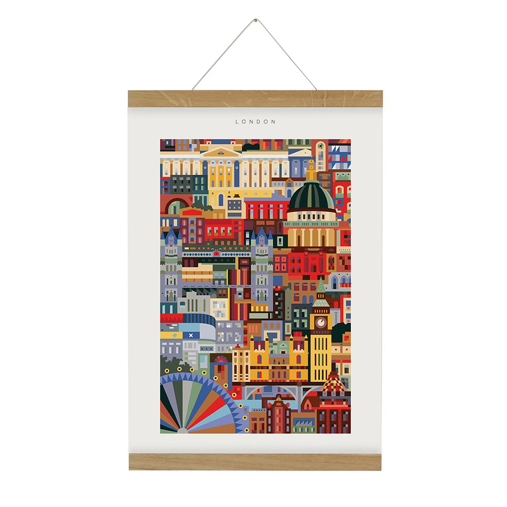 Home wall art - brightly coloured print of London landmarks