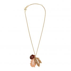 Acrylic oak leaf and acorn necklace