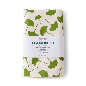 hemp face towel with gingko leaf print