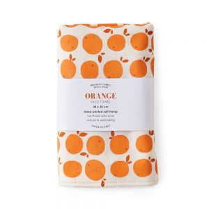 Face towel with an orange print