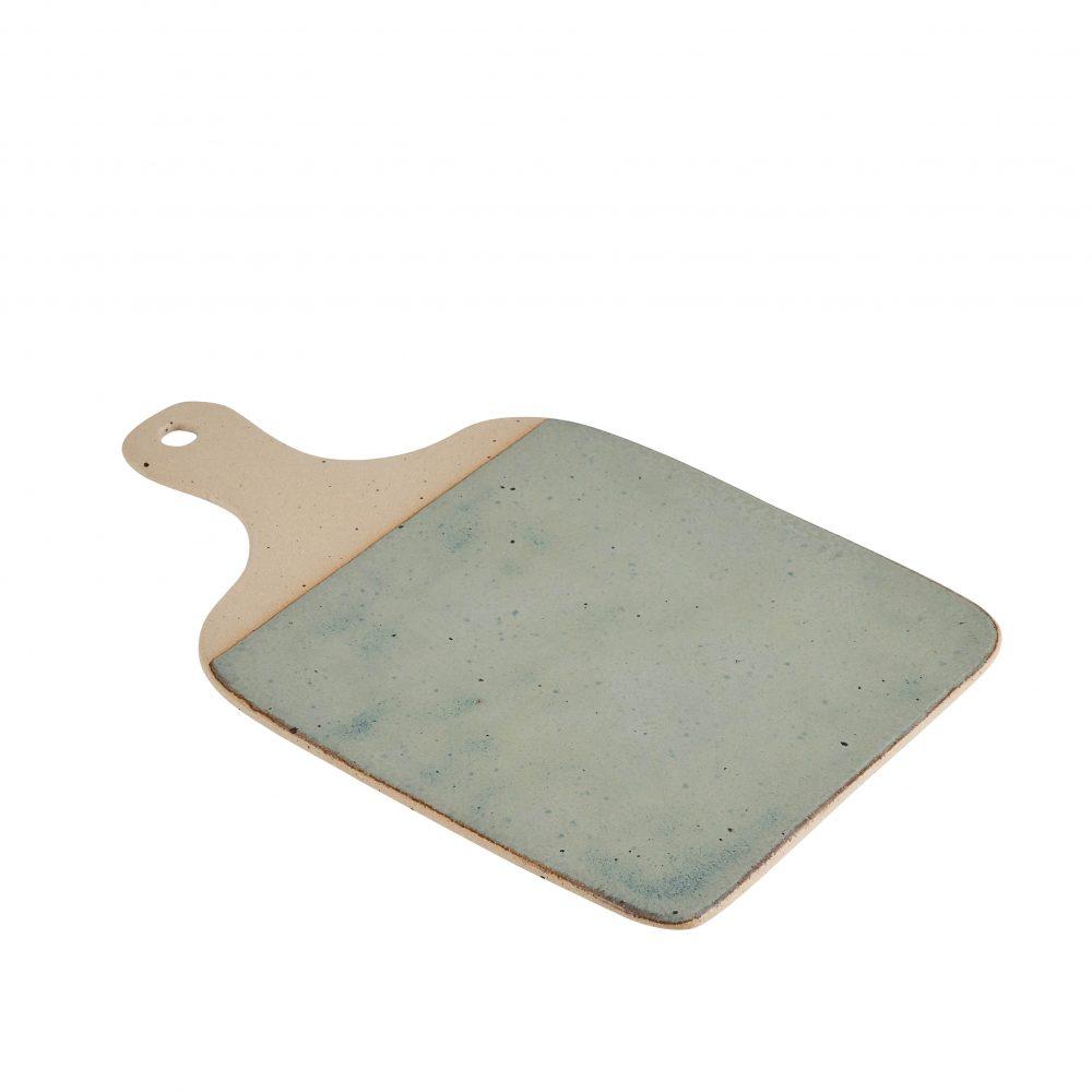Stoneware cheeseboard with green glaze