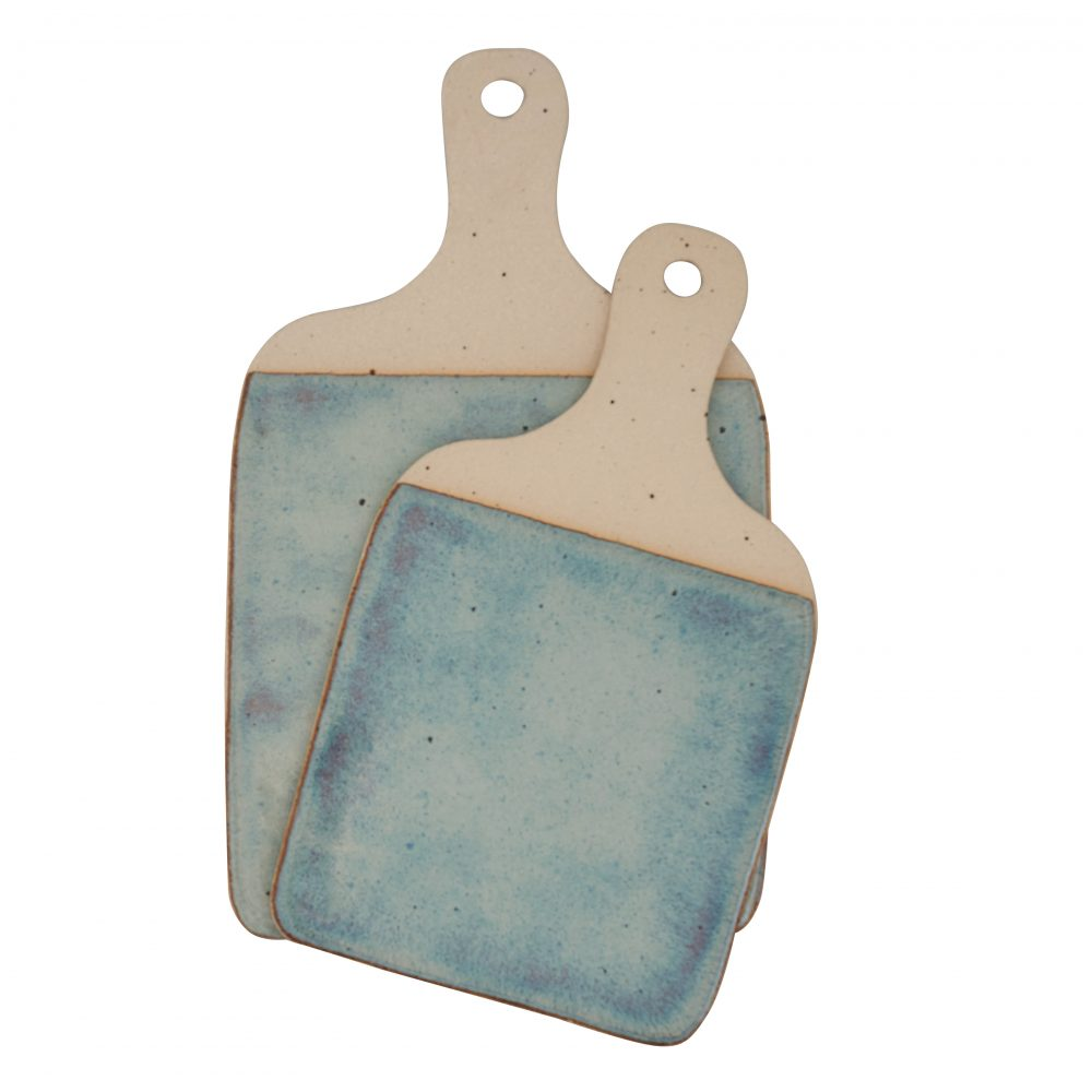 St of 2 ceramic cheeseboards with green glaze