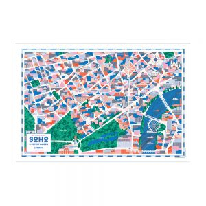 Home wall art - illustrated map of Soho