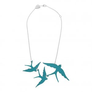 Acrylic necklace with 3 swallows