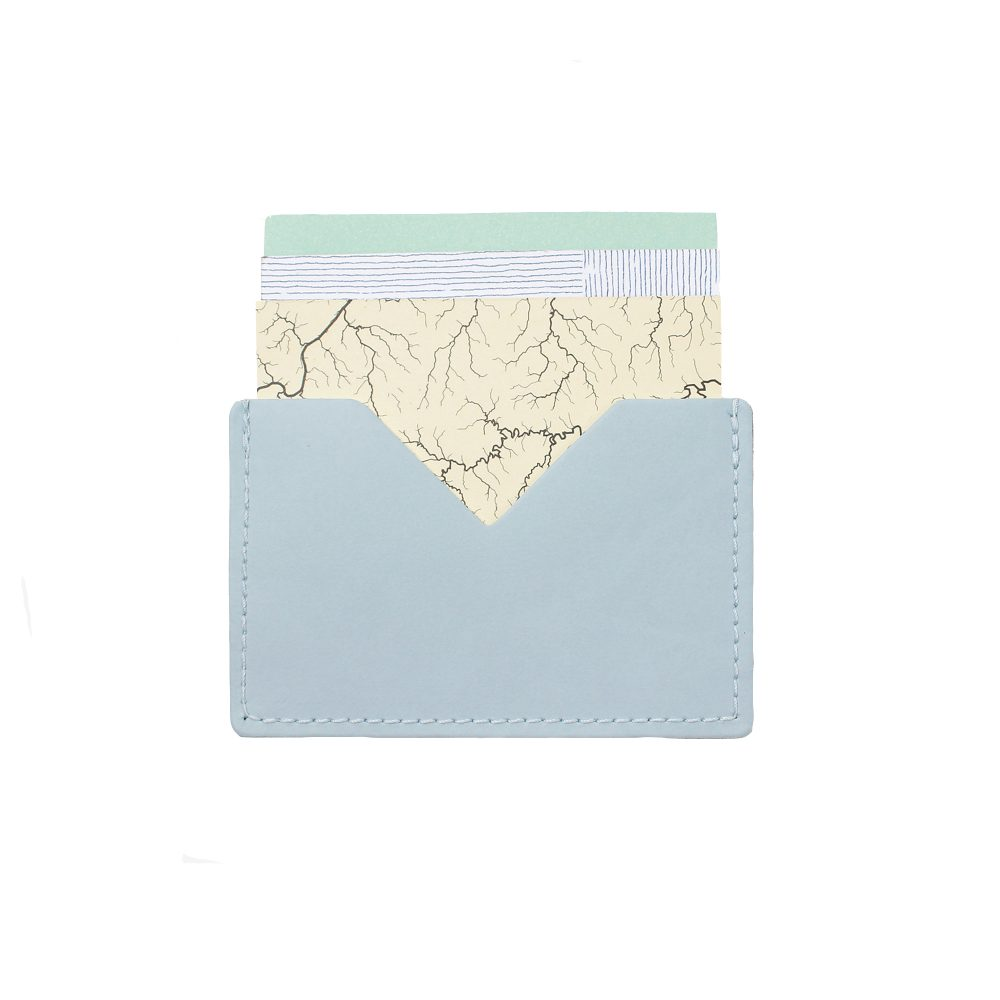Recrycled leather light blue card holder
