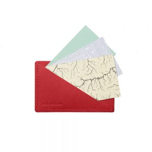 Gifts for him - recycled leather card holder red