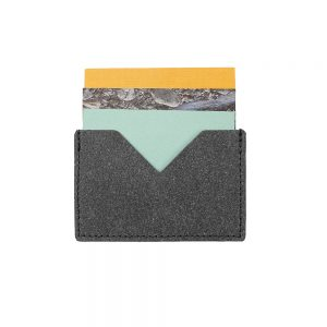 Gifts for him - recycled leather card holder grey