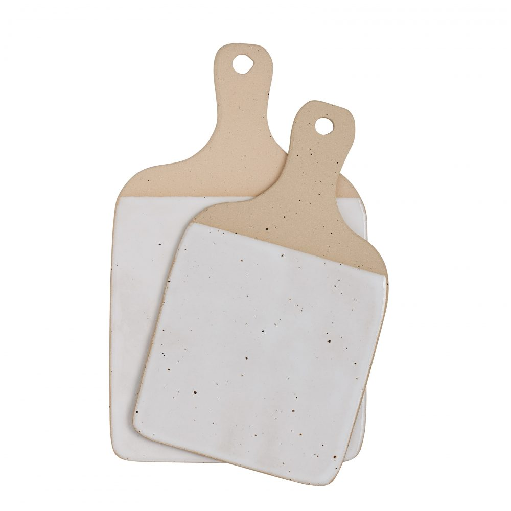 Set of 2 ceramic cheese boards with white glaze