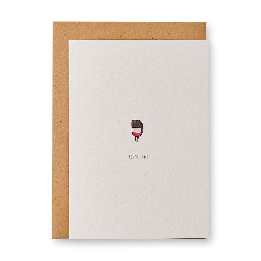 Card with an illustration of a Fab ice lolly on it.