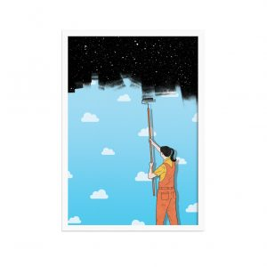Print of a woman painting on the night sky with a roller