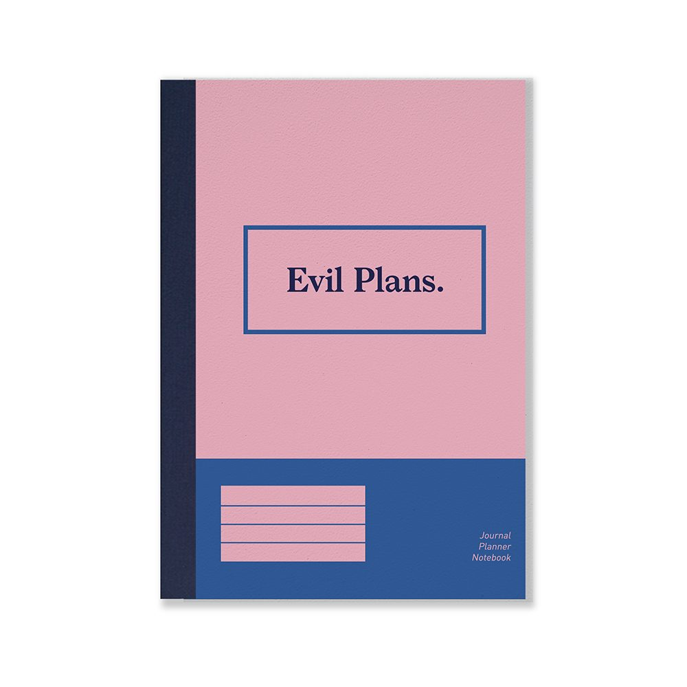Pink and blue notebook with Evil Plans slogan
