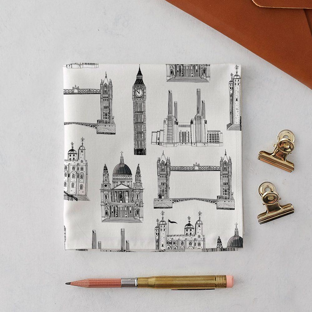 Designer pocket squares with illustrated London landmarks