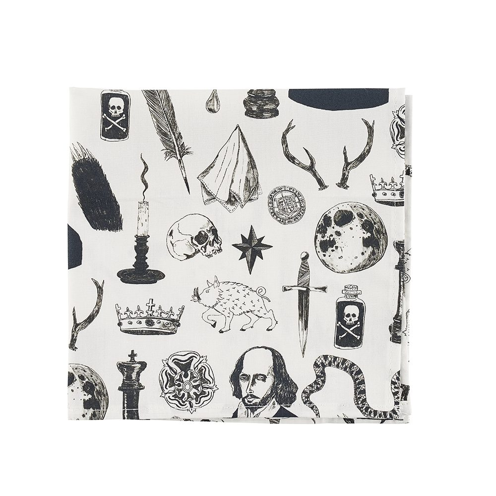 Designer pocket squares with illustrated Shakespeare motifs