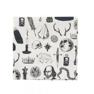 Designer pocket squares with illustrated Shakespeare motifs