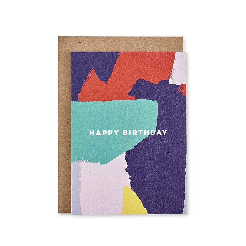 Colourful brushstrokes birthday card