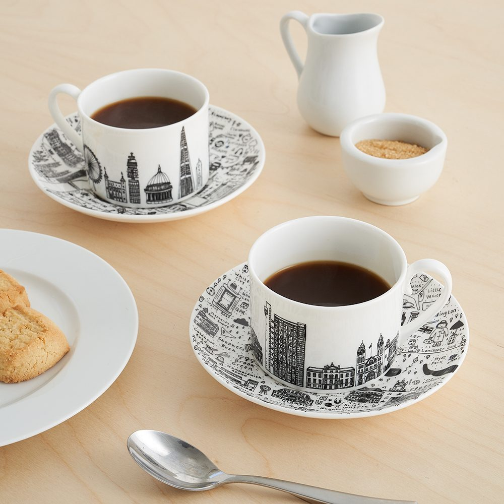 Designer homeware - Central London cup and saucer set lifestyle