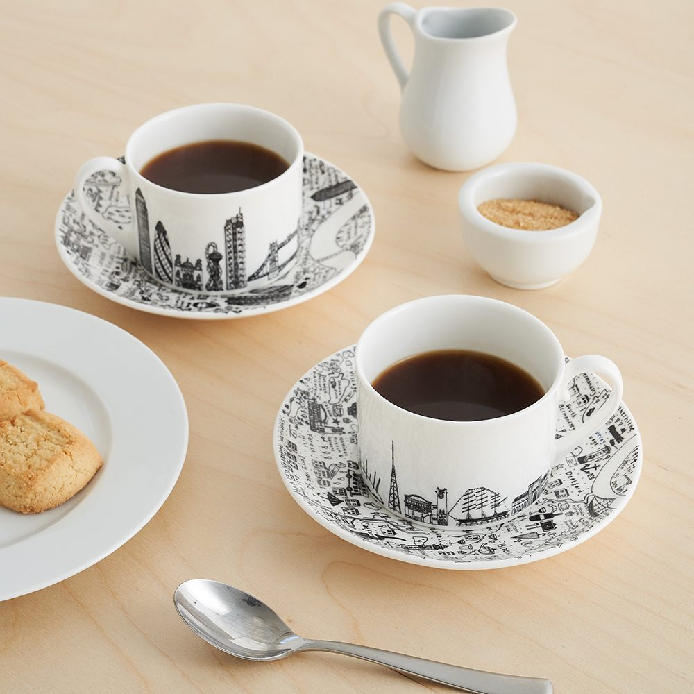 Designer homeware - South East London cup and saucer set lifestyle