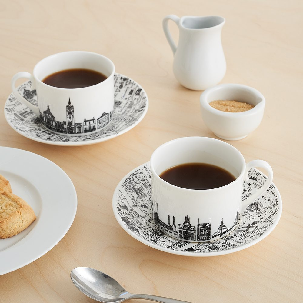 Designer homeware - South West London cup and saucer set lifestyle