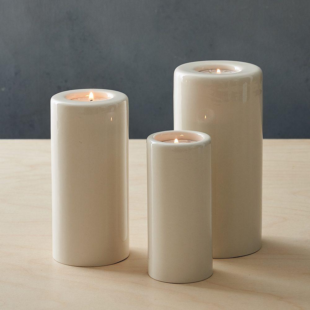 Designer homeware - eathenware candle and vase set