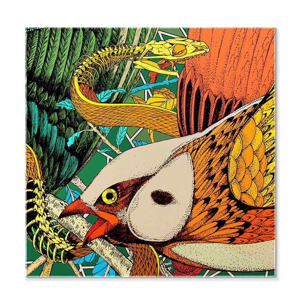 Designer pocket square - silk with bird design
