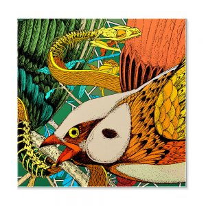 Designer pocket square - silk with bird design