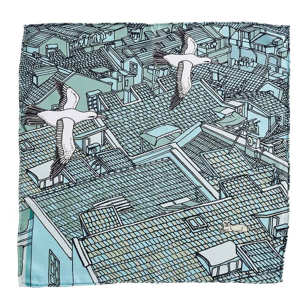Designer pocket square - silk with rooftops design
