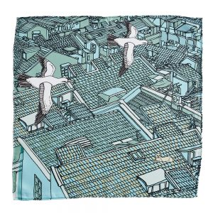 Designer pocket square - silk with rooftops design